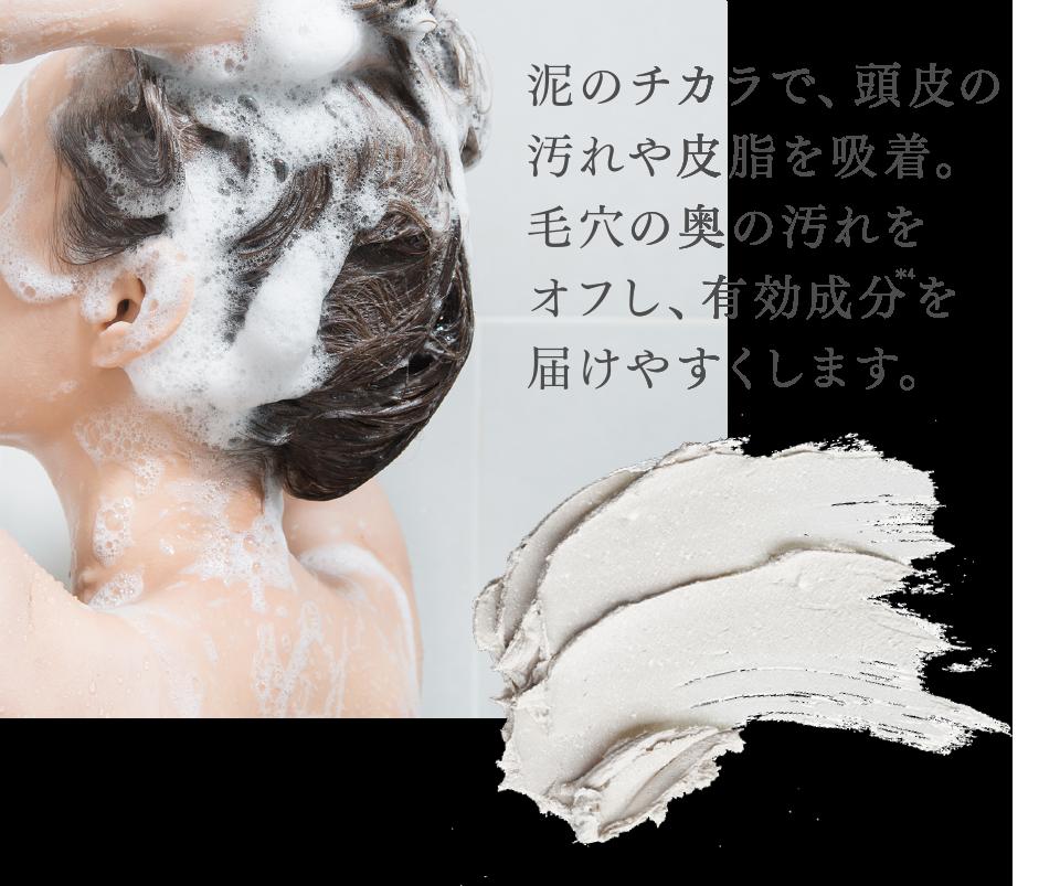 泥のチカラで、頭皮の汚れや皮脂を吸着。毛穴の奥の汚れをオフし、有効成分を届けやすくします。