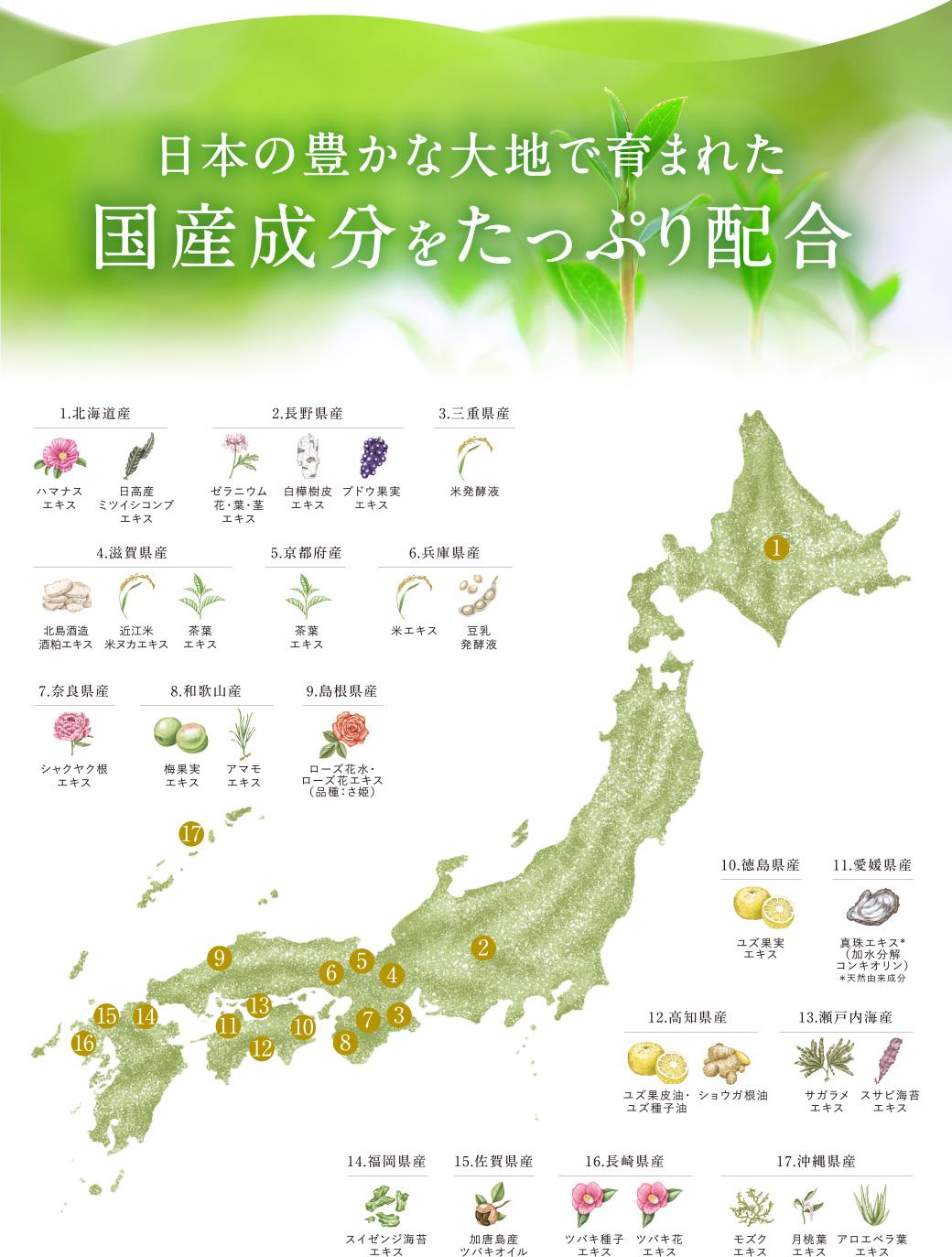 日本の豊かな大地で育まれた国産成分をたっぷり配合